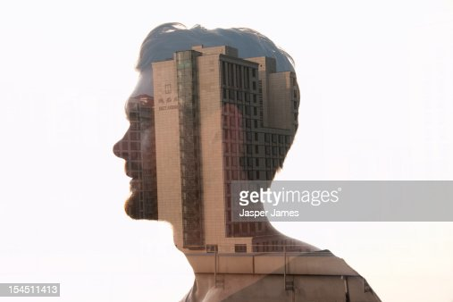 double exposure of man and building : Stock Photo