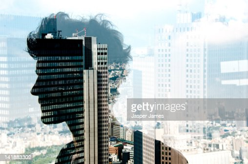 double exposure of man and cityscape : Foto de stock