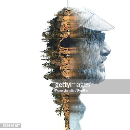 Double Exposure Of Man And Island