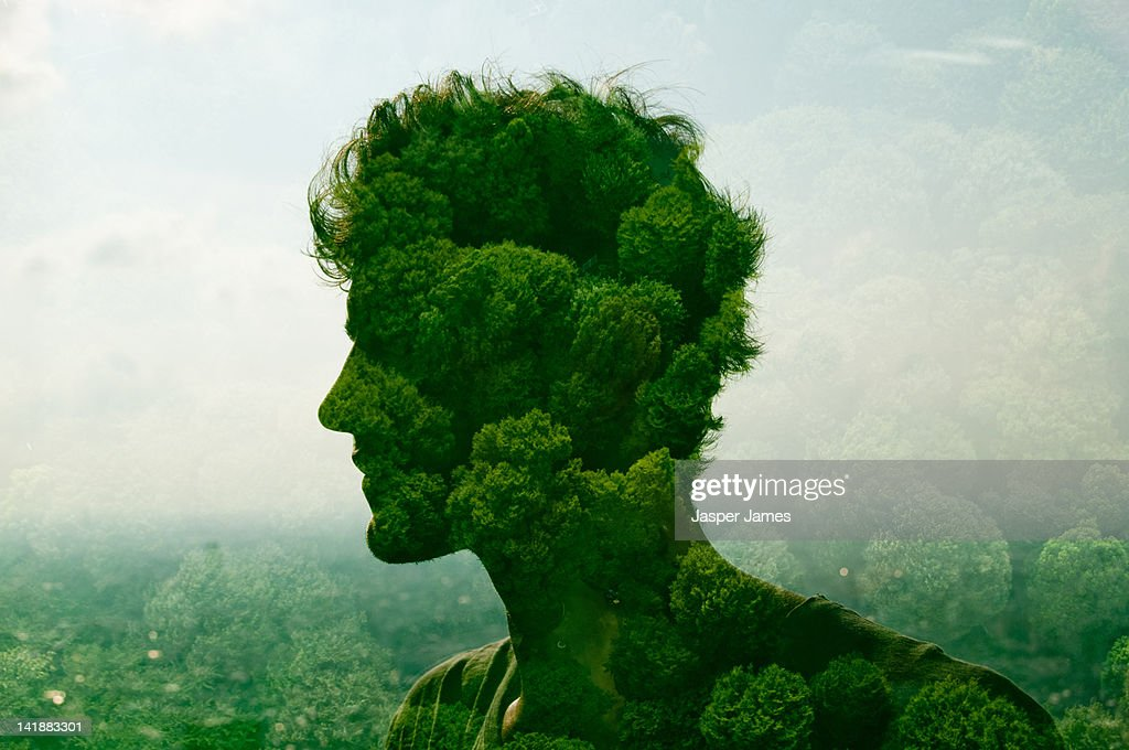 double exposure of man and trees : Stock Photo