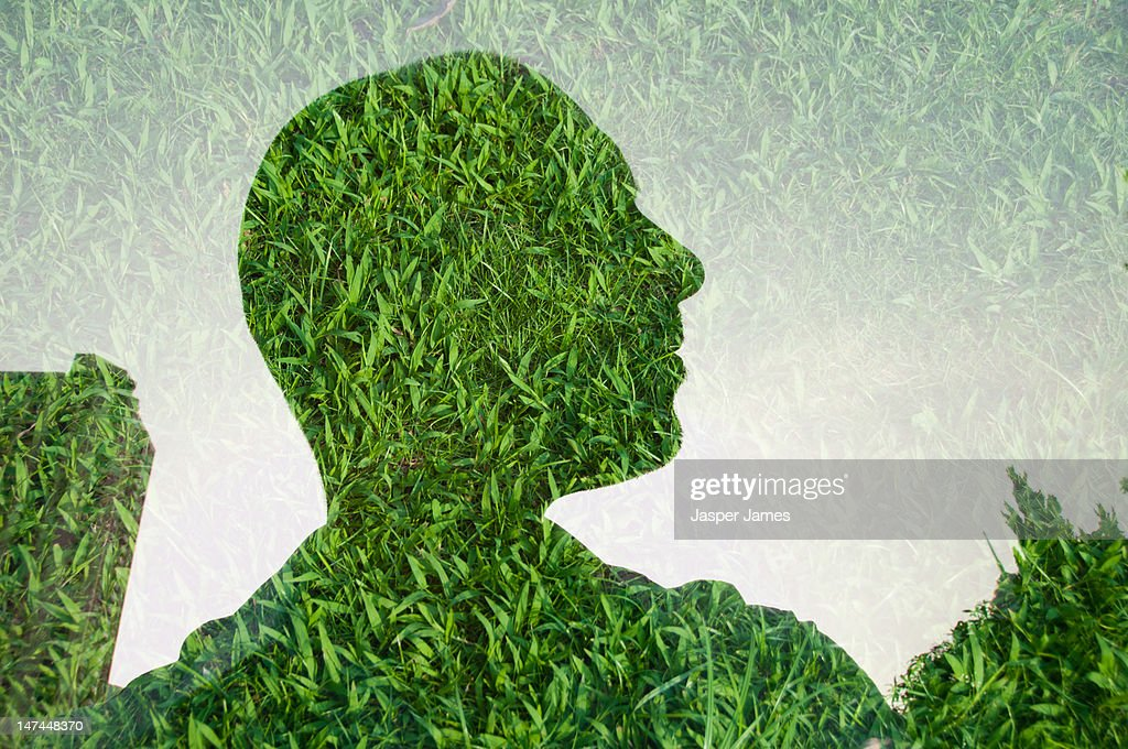 double exposure of mans head and grass : Stock Photo