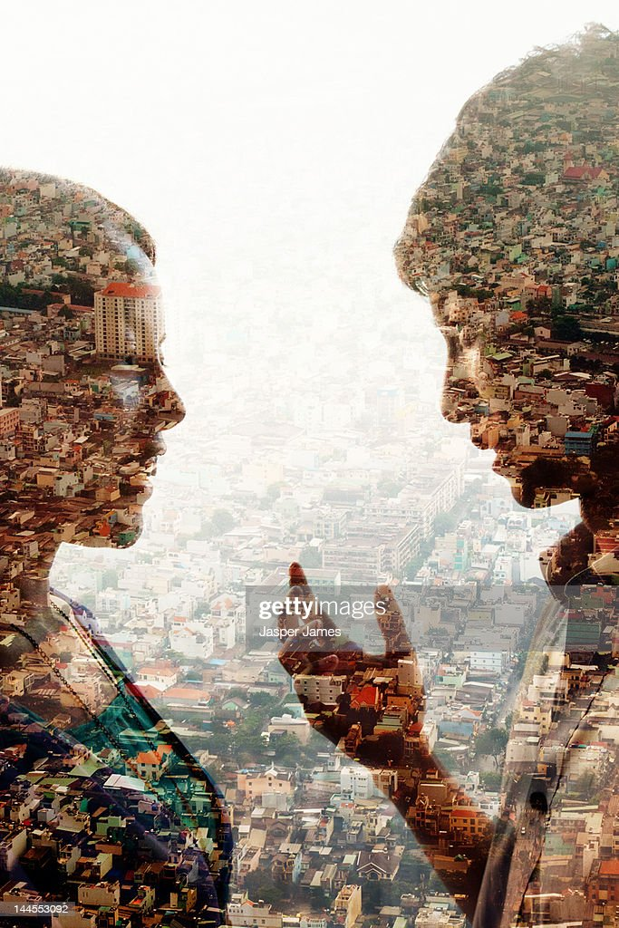 double exposure of man,woman and cityscape : Stock Photo