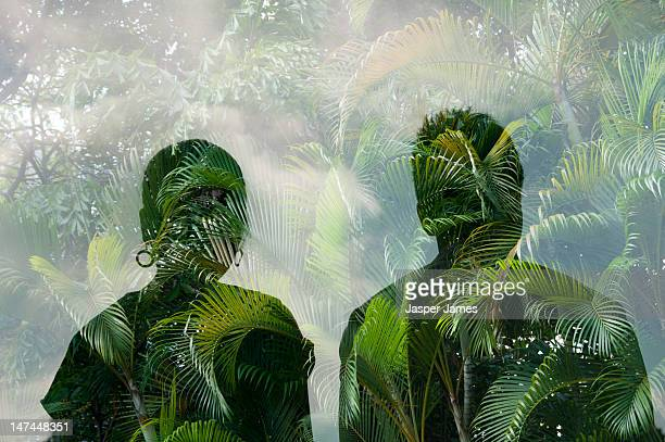 double exposure of man,woman and trees