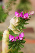 Double exposure of pretty african girl and pink flowers