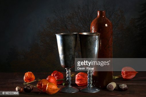 double exposure of still life and a tree : Stock Photo