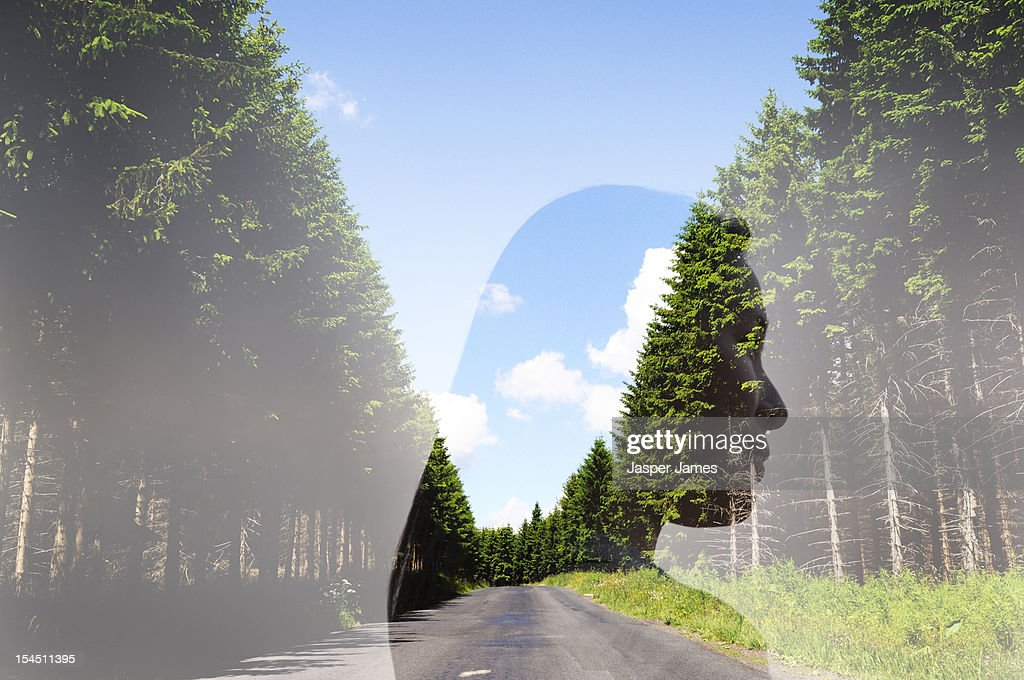 double exposure of woman and country road : Stock Photo