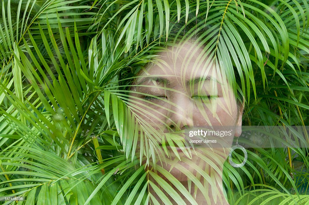 double exposure of woman and trees : Stock Photo