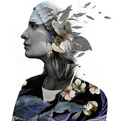 Double exposure portrait of a dreamy woman in hat