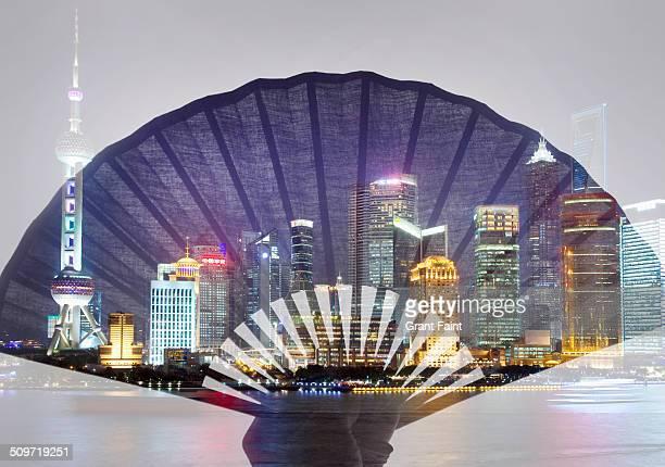 Double exposure: Shanghai skyline.