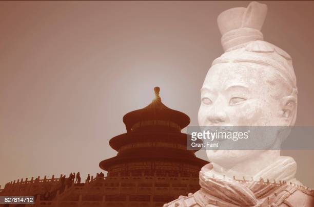Double exposure: Temple and terracotta warrior.