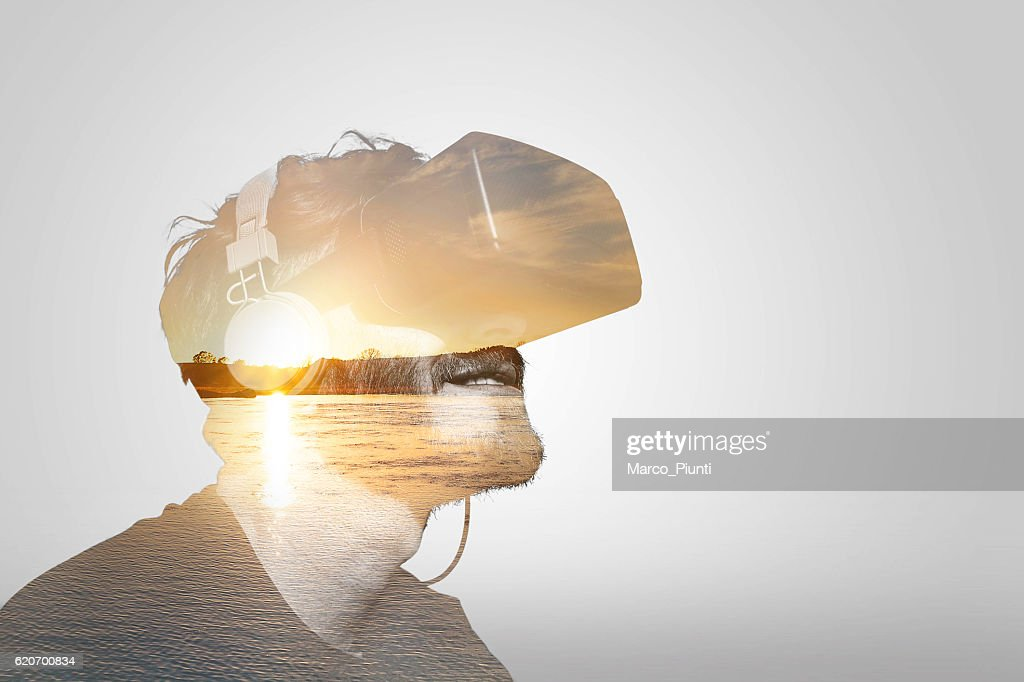 Double Exposure Virtual Reality : Stock Photo