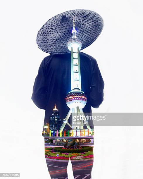 Double exposure:Farmer and TV Tower.