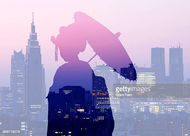 Double exposure:Geisha silhouette