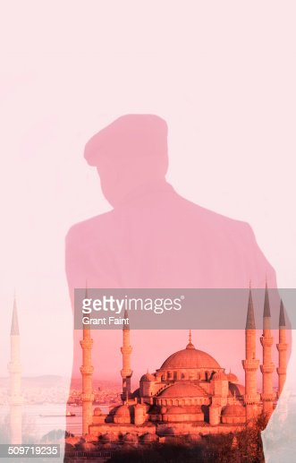 Double exposure:Old man and mosque.
