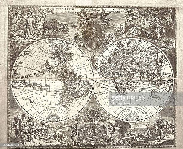 Double hemisphere map of the World 1713 Found in the collection of Russian National Library St Petersburg Artist Kiprianov Vasily Anufrievich