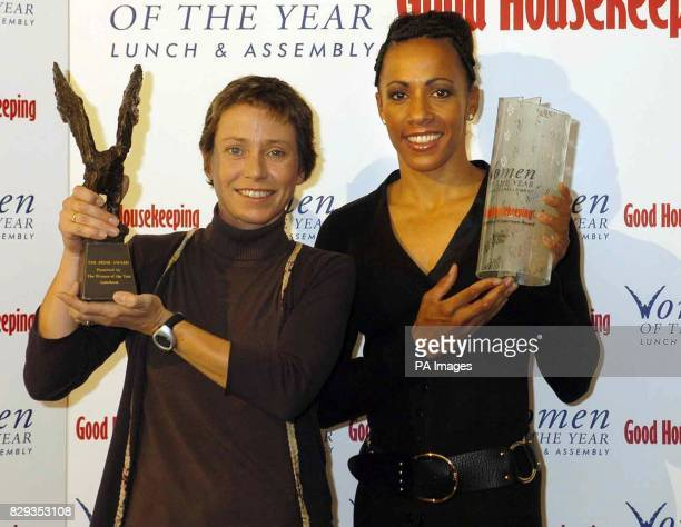 Double Olympic champion Kelly Holmes with her Good Housekeeping Outstanding Achievement Award and fundraiser Jane Tomlinson MBE with her Frink Award...