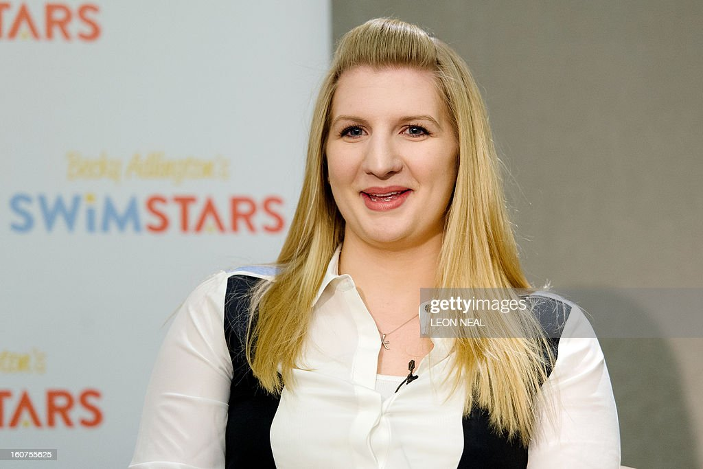 Double Olympic champion Rebecca Adlington holds a press conference in central London on February 5, 2013, where she announced her retirement from competitive swimming. The 23-year-old Briton who won two gold medals at the Beijing Games in 2008 but could only muster two bronze medals at London 2012, said now was the right time to quit as she could no longer keep pace with a younger generation of swimmers. AFP PHOTO/Leon Neal