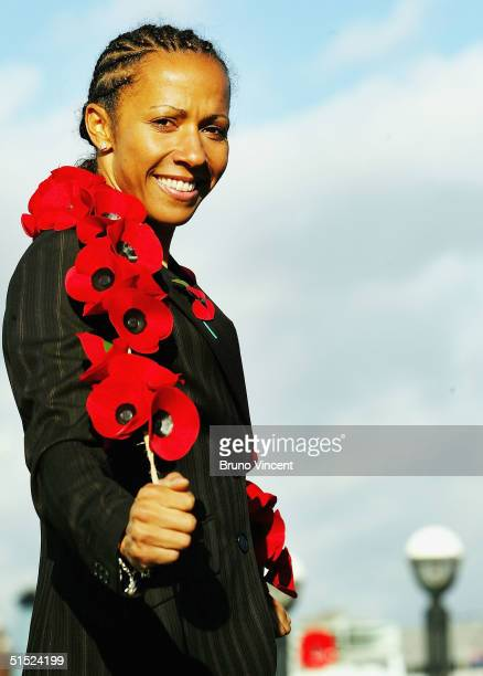 Double Olympic gold medallist Kelly Holmes launches the Royal British Legion's annual Poppy Appeal at City Hall on October 21 2004 in London Ms...
