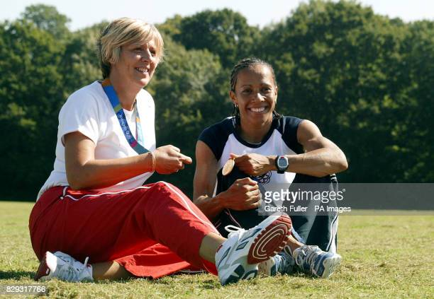 Double Olympic gold medallist Kelly Holmes with her former PE teacher Debbie Page during her visit to her former school the Hugh Christie Technical...