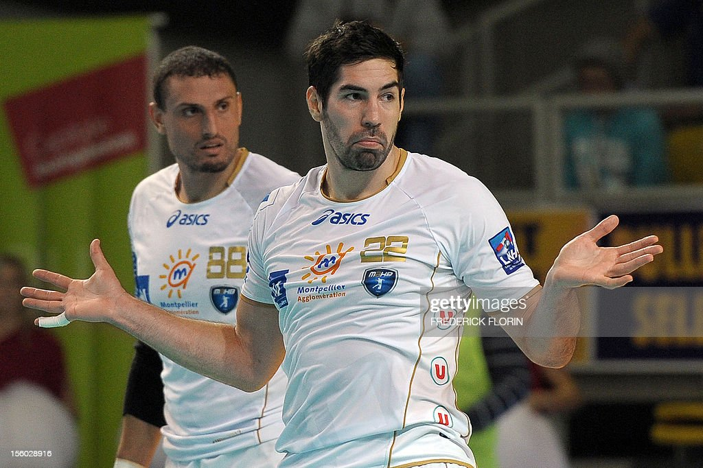 Double Olympic handball champion Nikola Karabatic reacts during his first match with the Montpellier's team against Selestat for the first time after being implicated in the a high-profile match-fixing scandal, on November 11, 2012 in Strasbourg,eastern France. Karabatic, along with 10 other people including his brother Luka, is being investigated by police on suspicion of fraud relating to unusual betting patterns on a match involving his club Montpellier and Cesson-Sevigne on May 2012.