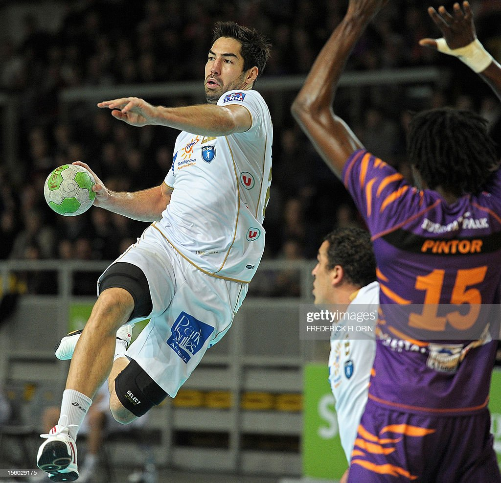 Double Olympic handball champion Nikola Karabatic shoots during his first match with the Montpellier's team against Selestat for the first time after being implicated in the a high-profile match-fixing scandal, on November 11, 2012 in Strasbourg,eastern France. Karabatic, along with 10 other people including his brother Luka, is being investigated by police on suspicion of fraud relating to unusual betting patterns on a match involving his club Montpellier and Cesson-Sevigne on May 2012. AFP PHOTO/FREDERICK FLORIN