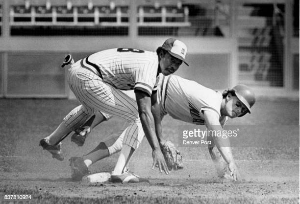 Double Play Double Exposure at Second Base Sunday Afternoon Denver Bears Larue Washington completes double play after getting Indianapolis Paul...