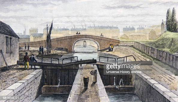 Double pound lock on the Regent's Canal London showing the east end of the Islington Tunnel in the background Handcoloured engraving London c1839