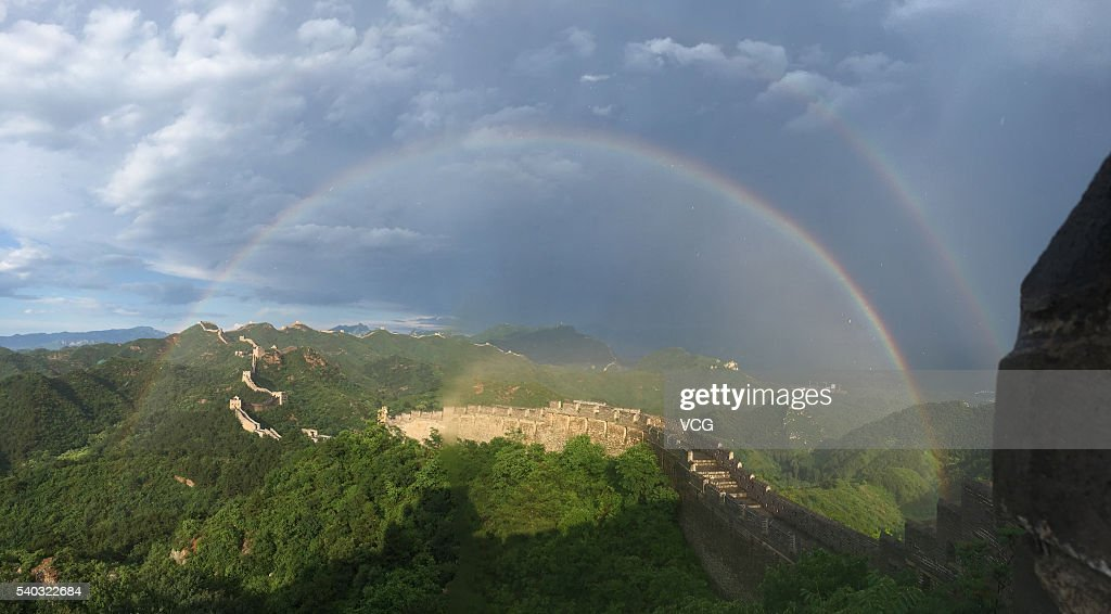 Double Rainbow appear above Jinshanling section of the Great Wall after the thunderstorm at Luanping County on June 15, 2016 in Chengde, Hebei Province of China.