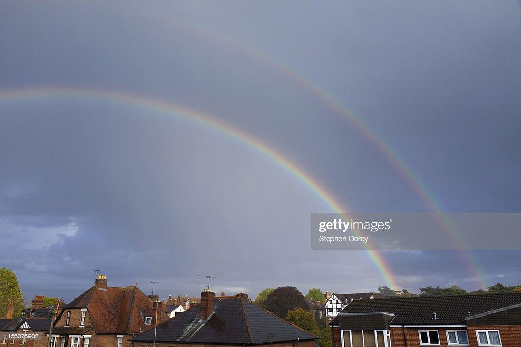 Double rainbow, Kingsholm, Gloucester, UK : Stock Photo