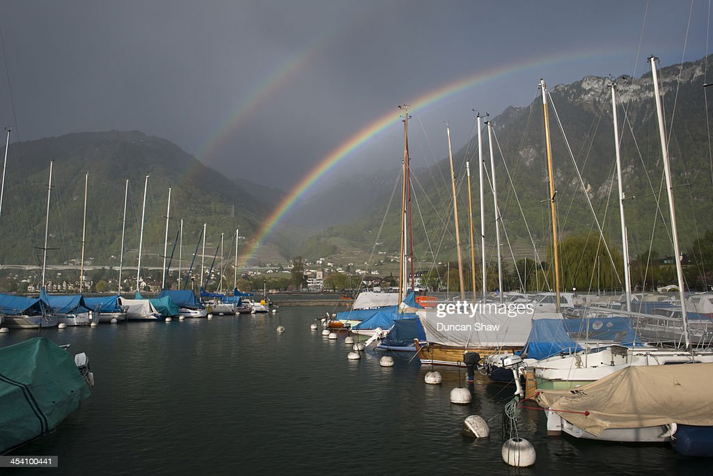 Double rainbow Lake Geneva : Stock Photo