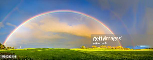 Double rainbow landscape in beautiful  Irish landscape scenery.