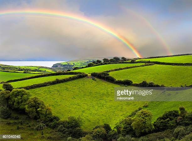 Double rainbow landscape in Dingle Peninsula scenery.