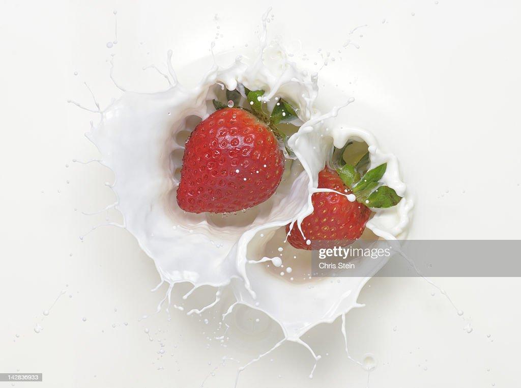 Double Strawberry Milk Splash : Stock Photo