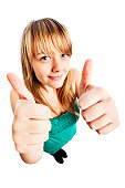 A happy young female teen giving a double thumbs-up hand signal.