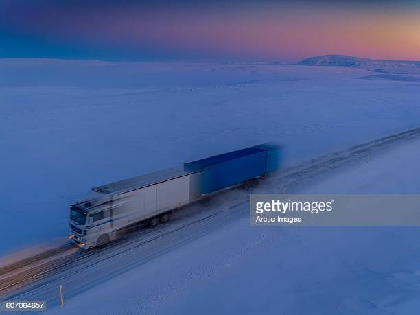 Double tractor trailer on mountain pass, Iceland