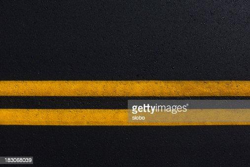 Double Yellow Line On New Asphalt Road