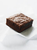 Double-chocolate brownie, elevated view