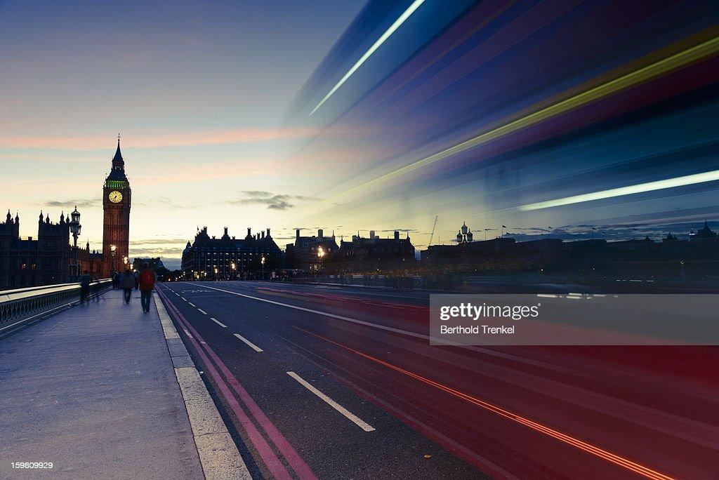 Double-decker bus crossing Westminster Bridge : Stock Photo