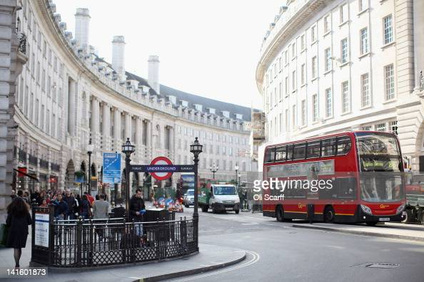A doubledecker bus travels along Regent Street on March 19 2012 in London England London's West End is synonymous with theatre productions containing...