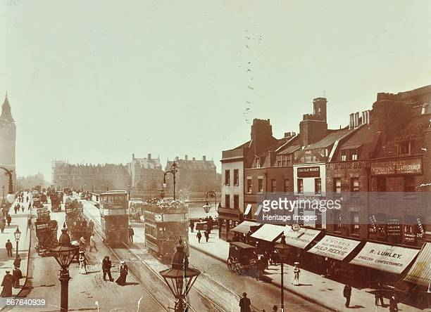 Doubledecker electric trams on Westminster Bridge London 1906 Trams superimposed on a photograph looking across the bridge towards Big Ben on the...
