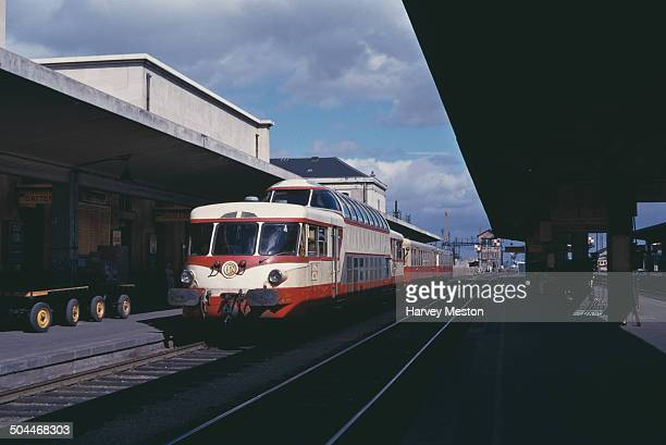 A doubledecker SNCF train in France circa 1965
