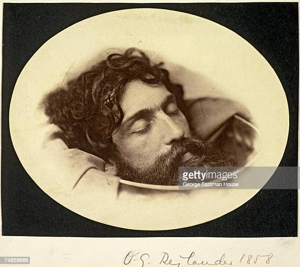 Doubleexposed photograph shows a bearded man's head in what appears to be a bowl late 1850s It was published under the titled 'Head of St John the...