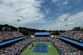 Doubles teammates Mike Bryan and Bob Bryan play against Ivan Dodig of Croatia and Marcelo Melo of Brazil in the men's double final during the Citi...