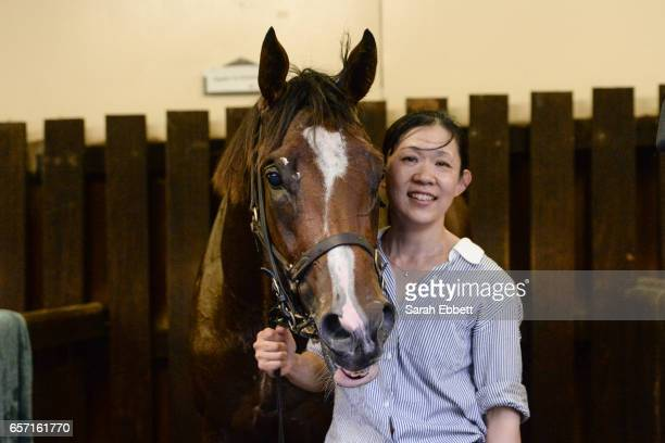Doubt I'm Dreaming with strapper Mini Igarashi after winning the Ascend Sales Valley Pearl at Moonee Valley Racecourse on March 24 2017 in Moonee...