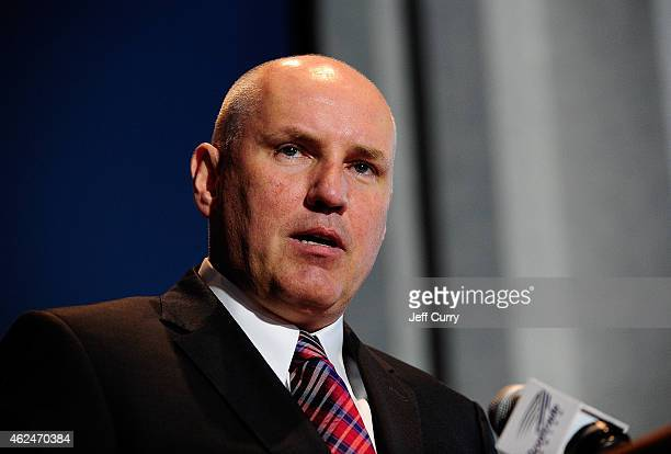 Doug Armstrong general manager of the St Louis Blues talks at Martin Brodeurs retirement press conference at Scottrade Center on January 29 2015 in...