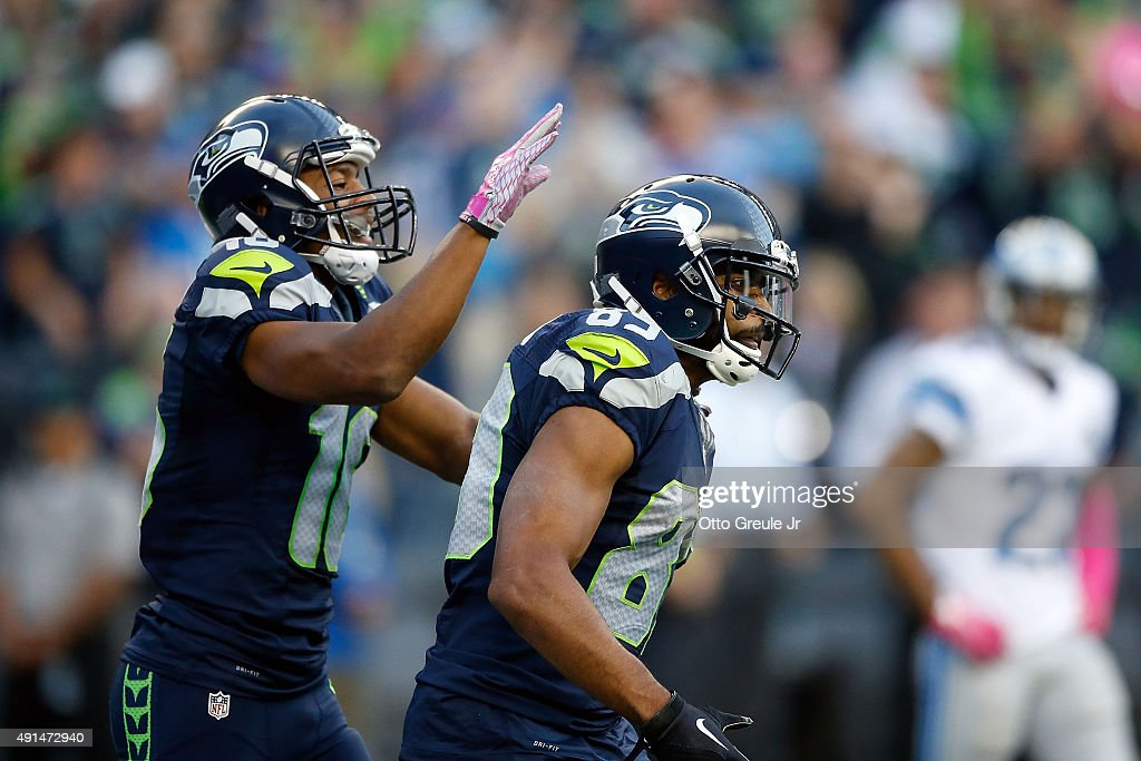 <a gi-track='captionPersonalityLinkClicked' href=/galleries/search?phrase=Doug+Baldwin+-+American+Football+Player&family=editorial&specificpeople=4542613 ng-click='$event.stopPropagation()'>Doug Baldwin</a> #89 of the Seattle Seahawks celebrates with <a gi-track='captionPersonalityLinkClicked' href=/galleries/search?phrase=Tyler+Lockett&family=editorial&specificpeople=8364808 ng-click='$event.stopPropagation()'>Tyler Lockett</a> #16 of the Seattle Seahawks after scoring a touchdown during the second quarter of a game against the Detroit Lions at CenturyLink Field on October 5, 2015 in Seattle, Washington.