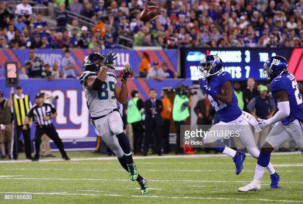 Doug Baldwin of the Seattle Seahawks makes a catch to run 22yards for a touchdown against the New York Giants during the third quarter of the game at...