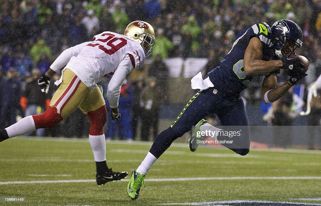 Doug Baldwin #89 of the Seattle Seahawks makes a touchdown catch against the Chris Culliver #29 of the San Francisco 49ers during a game at CenturyLink Field on December 23, 2012 in Seattle, Washington. The Seahawks won the game 42-13.