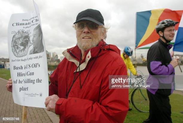 Doug Ballen from Catford joins other protestors as they gather beside the Thames Barrier