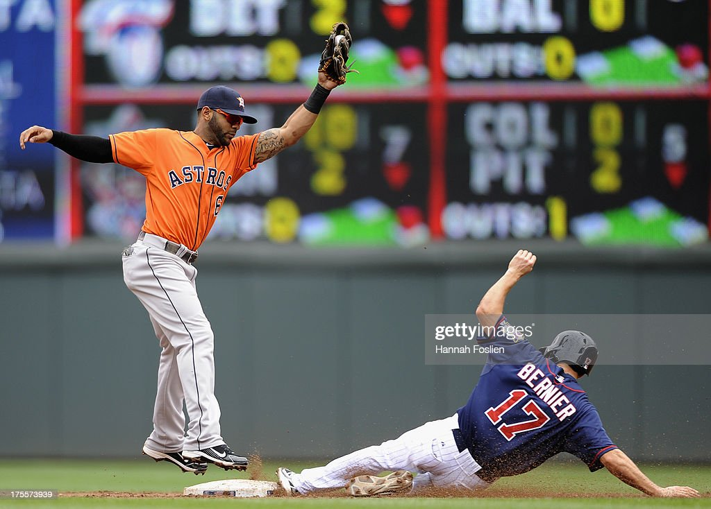 Doug Bernier #17 of the Minnesota Twins steals second base as Jonathan Villar #6 of the Houston Astros fields the ball during the third inning of the game on August 4, 2013 at Target Field in Minneapolis, Minnesota.